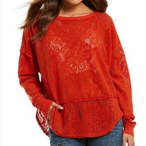 NWT Free People Lace Floral Oversized Sweater